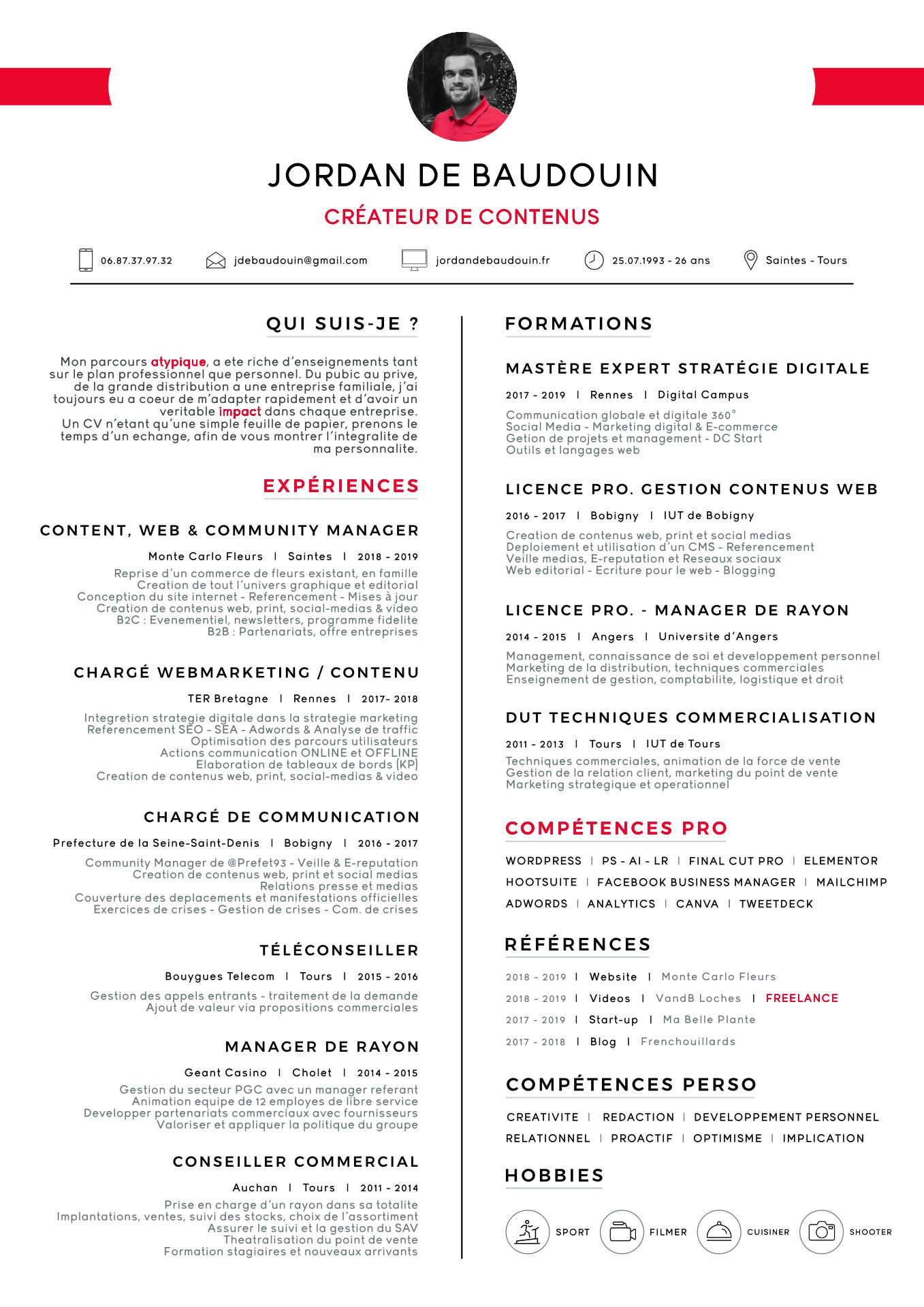 CV de Jordan de Baudouin